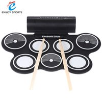 Wholesale Drum Kit Usb Midi - Wholesale- Portable Foldable Silicone Electronic Drum Pad Kit Digital USB MIDI Roll-up with Drumstick Foot Pedal 3.5mm Audio Cable