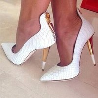 Wholesale Bronze High Heels - Fashion Designer Talon Femme Gold Spike Heel Ladies Pumps Alligator Leather Black White Party Shoes Woman Pointed Toe High Heels