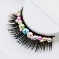 Wholesale cosplay makeup - New Creative Art Exaggerated False Eyelashes Halloween Cosplay Stage Color Pearls Thick Fake Eyelashes Smoke Makeup Color Eye Lashes