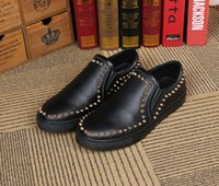 Wholesale Black Studded Platforms - Men's Fashion Gold Rivet Shoes Genuine Leather Pointy Spike Studded Dress Shoe Platform Hole Breathable Casual Flats Loafers