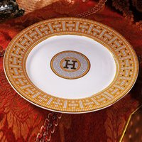 Wholesale dish plates for sale - Group buy Porcelain flat plates bone china quot H quot mark mosaic design outline in gold round shape quot flat plate bone china dish luxury small plate