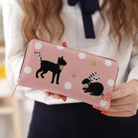 Wholesale Cute Card Designs - YOUYOU MOUSE Cute Cat Design Women Long Zipper Wallets PU Leather Coin Purse Bag Lady Clutch Lovely Bunny Card Holder Money Bag