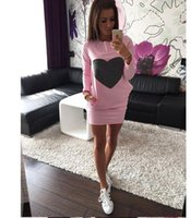 Wholesale Heart Drop Clothing - Fashion Love Heart Print Dress Warm Cotton Bodycon Long Sleeve Dresses Cotton Bodycon Dress Vestidos Casual Dresses Women's Clothing Ap