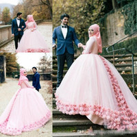 Wholesale Long Train Modern Wedding Dresses - Modern Pink Tulle Hand Made Flowers Muslim A Line Wedding Dresses 2017 Long Sleeves Chapel Train Saudi Arabia Bridal Party Gowns Cheap