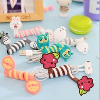 Wholesale Earphone Winder Cable Tidy - Cute 3D Cartoon wrap cable wire clip Animal PVC Headphone Cable Tidy Wrap Totoro Owl Bunny Bear earphone winder Organizer C1423