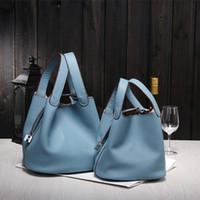 çanta kilit hasp toptan satış-Toptan-2016 Yeni kadın çanta H ünlü markalar en kaliteli Hakiki deri çanta tasarımcısı marka picotin kilit bayanlar alışveriş çantası