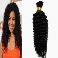 Wholesale human braiding hair resale online - Human hair for braiding bulk no attachment g deep curly braiding human hair no weft no weft human hair bulk for braiding