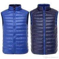 Wholesale Reversible Down Jacket - Fashion Winter men vest Light Weight Vest Reversible two sided wear waistcoat Vest Sleeveless Jacket autumn coat Plus Size S-3XL