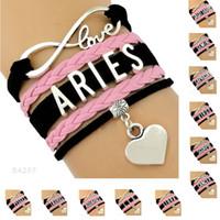 Wholesale Pink Infinity Rope Bracelet - (10pieces lots)Infinity Love Zodiac Virgo Aries Libra Gemini Charm Leather Bracelets For Women Men Pink Black Jewelry Gifts Drop Shipping