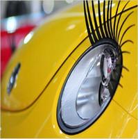 autocollants d'oeil de voiture achat en gros de-Autocollant De Phare De Voiture Faux Oeil Autocollant Cils Drôles Auto tête lampe Décoration Stickers 2 PCS Pour VW Volkswagen Beetle BMW