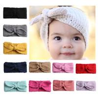 örgü saç çemberleri toptan satış-Çok renkli Sıcak Örgü Yün Kış Modelleri Bantlar Bebek Saçbağı Hoop Sevimli Tavşan Kulakları Şapka Headwrap Bebek Turban BM156