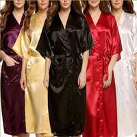 bata camisera de seda para mujer. al por mayor-Al por mayor-Plus Size Brand Albornoz Mujeres Hombres Kimono Satén de Seda Robe Largo Dama de Honor Robes Lencería Sexy Bata Camisón camisón