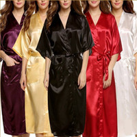 Wholesale long satin nightgowns women - Wholesale- Plus Size Brand Bathrobe Women Men Kimono Silk Satin Long Robe Bridesmaid Robes Sexy Lingerie Dressing Gown Nightgown Sleepwear