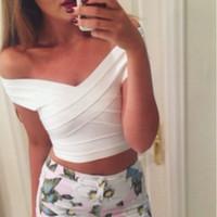ingrosso fuori dalle parti superiori delle spalle-All'ingrosso- Nero Bianco Rosso Off Shoulder 2016 Tight Short Donna Sexy HL Crop Top
