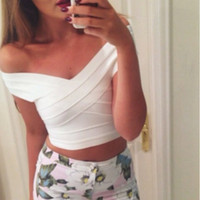 Wholesale Black White Red Off Shoulder Tight Short Women s Sexy HL Bandage Crop Top