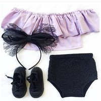 Wholesale sexy child clothing - New Summer Girls Sets Outfits Off Shoulder Sexy Tee Tops+Shorts Brief Pants Korean Fashion set Baby Children Clothing Sets Suits A6386