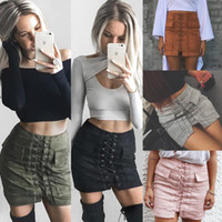 Wholesale Sexy Leather Skirt Woman - 2016112135 Sexy Lace Up Suede Leather Skirt Women 90's Vintage Preppy Pocket Bodycon Skirt Winter High Waist Short Autumn Skirts