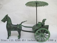 Wholesale Chinese Horse Bronzes - Elaborate Chinese Classical Bronze Antique Collection Horse-drawn Wagon Statue
