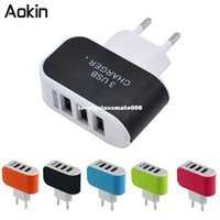 Wholesale i phone mobiles - dhgate 3 Ports Multiple Wall USB Smart Charger 5V 3A EU Plug Adapter Mobile Phone Device Fast Charging Newest for i phone Samsung