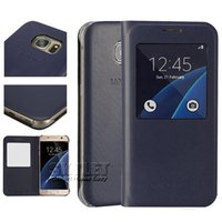 Wholesale Silk Wallet Case - For Samsung S7 Case View Cover Open View Window PU Leather skylight Silk Pattern Phone Cases For Samsung Note 5 S6 S7 Edge Retail Package