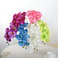 Wholesale Mounted Butterflies - Wholesale-Artificial Butterfly Orchid Silk Flower Bouquet Phalaenopsis Wedding Home Decor Fashion DIY Living Room Art Decoration F1