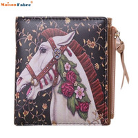 Wholesale- Naivety 2016 New Women Vintage PU Leather Floral Horse Printing Sac à main en sac à main court Monedero 11S60927 drop shipping