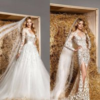 Wholesale Zuhair Murad See Through Dress - Modest Zuhair Murad Bridal Gowns Removable Train A-line Long Sleeves Lace See Through Tulle Sexy Luxury Sheer Wedding Dresses