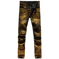 Wholesale Nwt Mens Slim - Wholesale-NWT famous Fashion jeans men Coated paint printing catwalk Shiny golden Denim jean Slim pants mens Casual jeans mens skinny jean