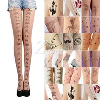 Wholesale Women Tattoo Socks - Wholesale- Fashion Women's Trendy Sexy Tattoo Pattern Temptation Sheer Pantyhose Tights Stockings Wholesale BD0066