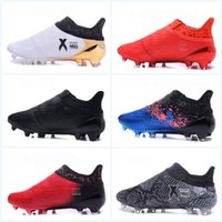 Wholesale Green Hid - New X 16+ Pure Chaos FG Football Boots Blue White shock Pink Mens Soccer Shoes hidden laces X16 collection Soccer Cleats