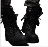 Wholesale Fashionable Rubber Boots - Wholesale- Brand Two Colors Retro Combat boots Winter England-style fashionable Riding boots Men's short Black High-Top Leather shoes Hot!