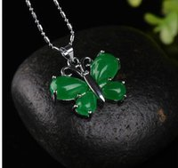 Wholesale black jade amulet resale online - Fashion Natural Green Jade Butterfly Necklace Pendant Delicate Lucky Amulet Hot