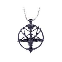 Wholesale devil necklaces - unisex round lupercalia Luperci Faunus Pan Necklace Lucifer Satan flag devil seal Pentagram Pentacle sheep Pendant Goat head Necklace x372