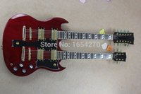 Wholesale Double Necked Sg - Wholesale-Hot Selling 6strings and 12 strings double neck g shop custom SG electric guitar in red color free shipping 150708