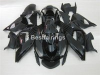 Wholesale plastic injection molded - Injection molded plastic fairing kit for Kawasaki Ninja ZX14R 06 07 08 09 10 11 matte black fairings set ZZR1400 2006-2011 OP16