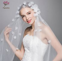 fildişi yaprakları düğün toptan satış-Popodion İşi uzun çiçek yaprakları düğün için peçe fildişi zarif düğün tül veils gelinlik dhWAS10007