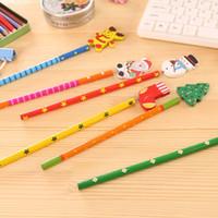 kurşun kalem eko toptan satış-Geri Yaylar Rastgele Renk ile Okul Noel Teması Çocuklar Karikatür Ahşap Kalem için Çocuklar için Çevre Dostu Yenilik Noel Kalem Hediyeleri