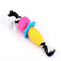 Wholesale pink corn - Corn torch bone star shape dog chew toy interactive eco-friendly TPR cotton knot large dog toy
