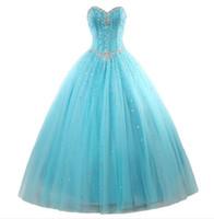 mavi ruffle elbiseleri toptan satış-Yeni Zarif Nane Mavi Quinceanera elbise Balo ile Boncuk Ruffles Pullu Dantel-Up sweep tren Balo Parti elbise