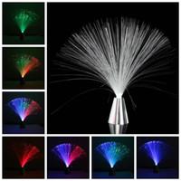 rahatlatıcı lambalar toptan satış-Promosyon Çiçek LED Renk Değiştirme Fiber Optik Çeşme Gece Işığı Lambası Rahatlatıcı Claming Dekor Pil Gücü Için En Hediye