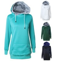 Wholesale Double Hoodie Woman - wholesale retail spring autumn long hoodies for women tops blouses women pullovers contrast double hat casual clothes for female outwear