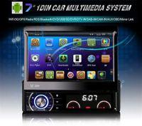 ücretsiz wifi aracı toptan satış-7 Inç Araba DVD Oynatıcı MP5Radio Çalar Android 4.4.4 GPS WiFi Bluetooth Dokunmatik Ekran Ücretsiz Haritalar Del Coche 1 Din AM / FM V2.1 Stereo