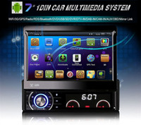 android für bildschirm auto großhandel-7 Zoll Auto DVD Spieler MP5Radio Spieler Android 4.4.4 GPS WiFi Bluetooth Touchscreen Kostenlose Karten Del Coche 1 Din AM / FM V2.1 Stereo