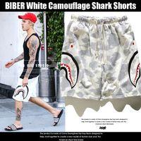 Wholesale drawstring fleece shorts - New White Camouflage Shark Shorts Couple Beach Casual Men Women Pants Hot BIBER Men's Shark Head Print Camouflage Pants Shorts