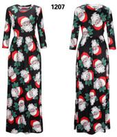 Wholesale Christmas Midi Dresses - New Style Christmas printed long sleeve dresses Christmas Party Women's Dress