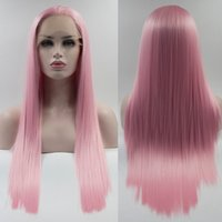 Wholesale Short Dark Pink Cosplay Wig - Resika Direct Factory Price Cosplay Pink Straight Synthetic Lace Front Wigs For Women High Temperature Long Hairstyles Natural Afro Wigs