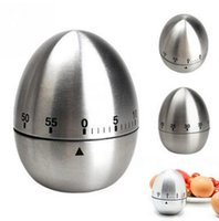 Wholesale Stainless Steel Egg Timers - Egg Timer Stainless Steel Egg Shape Kitchen Timer Analogue 60 Minute Alarm Gadget Bell Time Food Cooking Timer Reminder 455