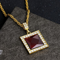 Wholesale Wholesale Ruby Pendant - Mens Hip Hop Square Pendant Twist chain Necklace ruby crystal necklace Charm Chain Women Necklaces 18k Gold