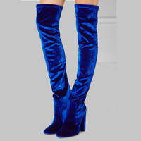 Wholesale Shoes Over Knee - 2017 spring autumn winter summer platform Thigh-High heels blue red velvet boots for woman over the knee high long Stretch boots women shoes