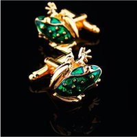 Wholesale Men Cuff Links Animal - Gold silver frog animal fashion men jewrlry cufflinks men's cuff nail free shipping